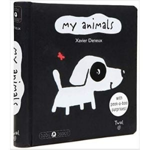 black and white books for babies, my animals